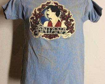 56b4ea3af Vtg 1980 Santana Concert T-Shirt Blue Classic Rock 80s Carlos