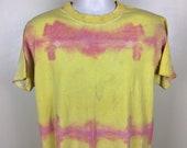 Vtg 90s Anvil Tie Dye T-Shirt Yellow Pink L Blank Plain