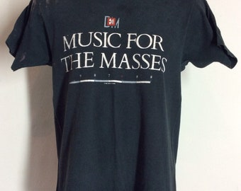 ea6b49cedd7 Vtg 1987 Depeche Mode Music For The Masses Concert T-Shirt Black 80s  Synthpop Pop New Wave Band