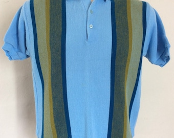 cbae82c7 Vtg 60s 70s Sears Knit Golf Polo Shirt S/M Blue Striped Stripes Casual