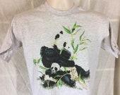 Vtg 1996 Panda Bears T-Shirt Heather Gray S 90s Anvil Animal Nature Wildlife