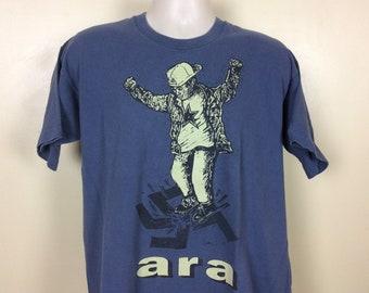 Anti Racist Action T-Shirt Blue XL 90s Ara Minnesota Punk Rock Skinheads Vtg 1995 A.R.A