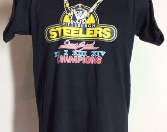 Vtg 1980 Pittsburgh Steelers Super Bowl Champions T-Shirt Black S M 80s NFL  Football b598483de