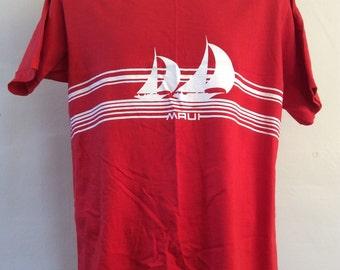 Vtg 1981 Crazy Shirts Maui Sailboats T-Shirt Red L 80s Hawaii Vacation Souvenir