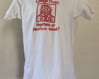 Vtg 80s George Bush T-Shirt White S/M Screen Stars 50/50 Politics Funny