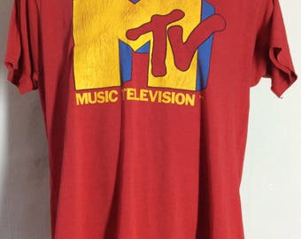 Vtg Early 80s I Want My MTV T-Shirt Red L/XL Screen Stars Pop Culture TV Music