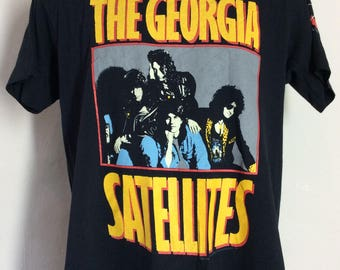 Vtg 1988 The Georgia Satellites T-Shirt Black M/L 80s Southern Hard Rock Band