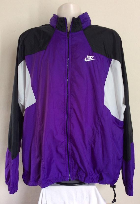 Vtg 80s Early 90s Nike Gray Tag Windbreaker Jacket Purple XL