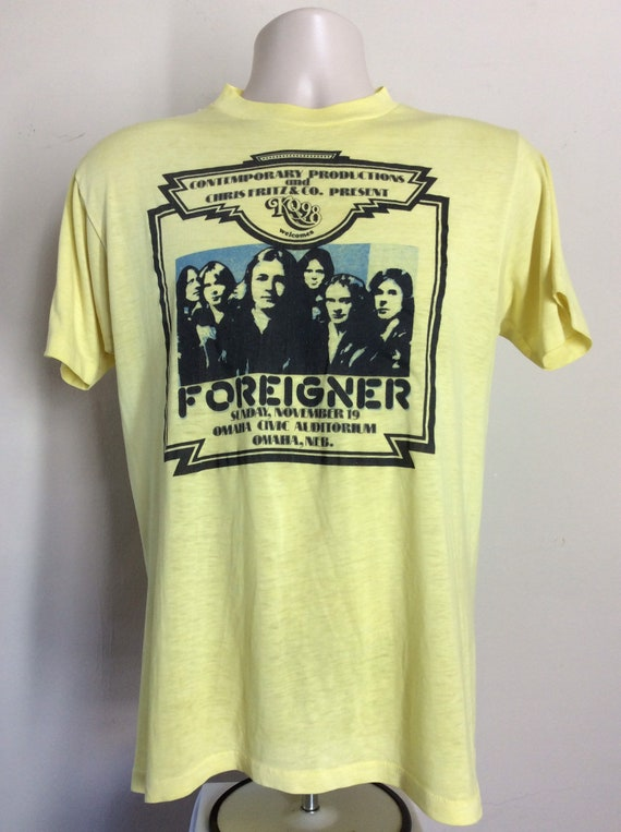 Vtg 1978 Foreigner Concert T-Shirt Yellow S 70s Cl