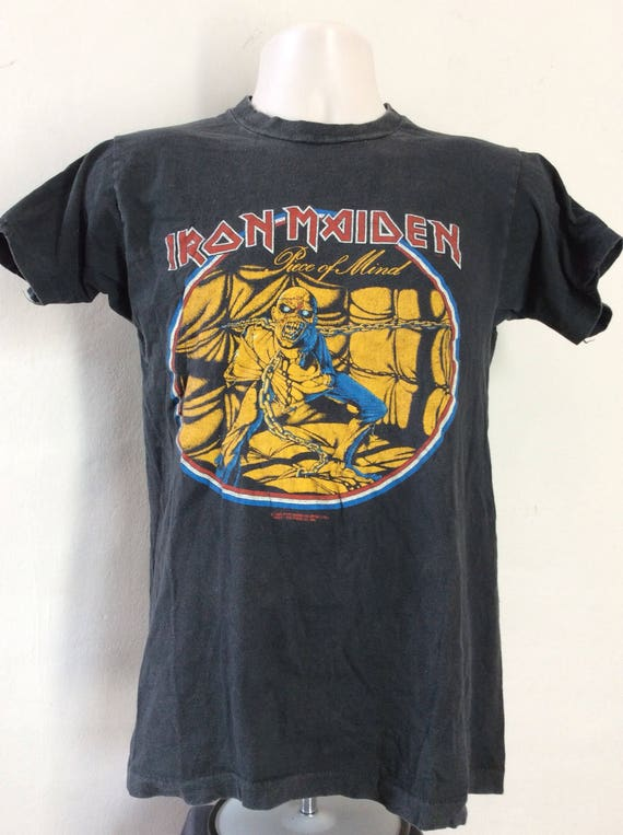Vtg 1983 Iron Maiden Piece Of Mind T-Shirt Black 8
