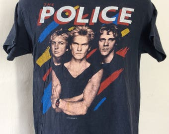 Vtg 1983 1984 The Police Concert T-Shirt Black M/L 80s Synchronicity Sting New Wave Rock Band