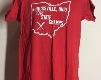 Vtg 1978 Hicksville Ohio Baseball State Champs T-Shirt Red 70s