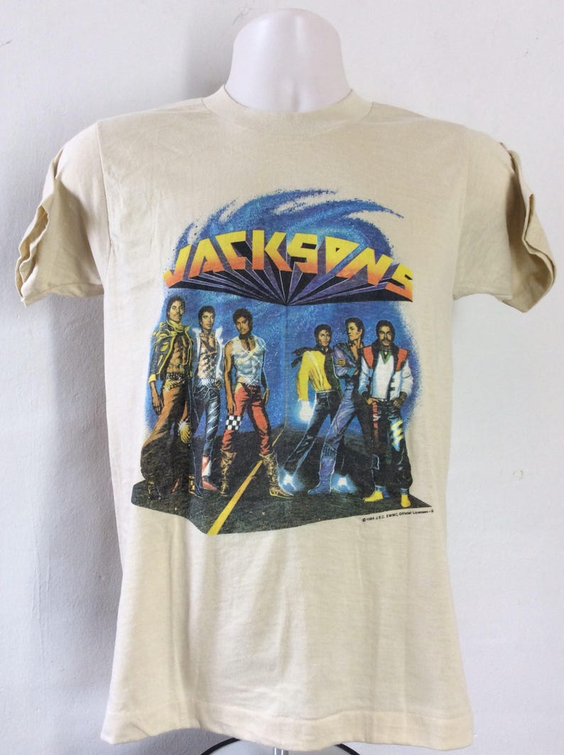 b4061c4e69898f Vtg 1984 Jacksons Concert T-Shirt Beige S M Michael The