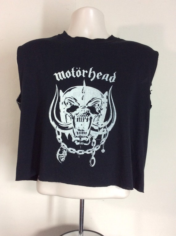 Vtg Early 80s Motorhead T-Shirt Black L Chopped He