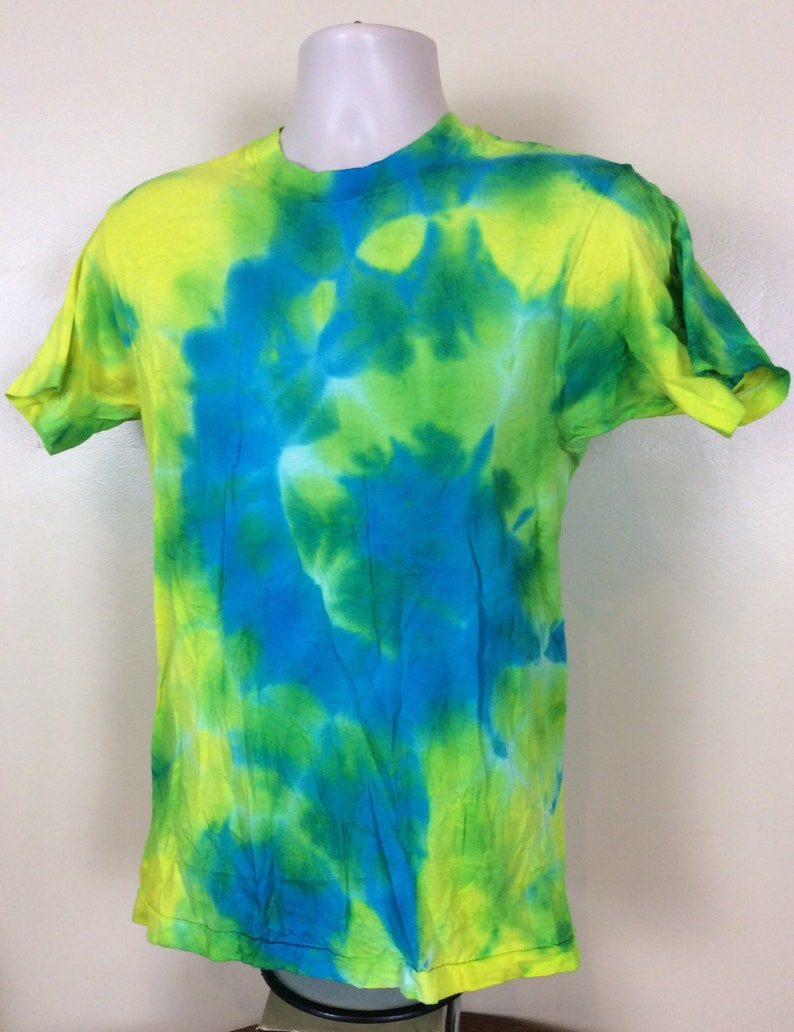 Vtg 80s Fruit Of The Loom Blue Green Tie Dye T-Shirt SM Blank Plain Made In USA Single Stitch