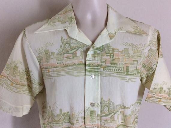 Vtg 70s Botany 500 City Bridge Print Short Sleeve Polyester Shirt White L Disco Button Down