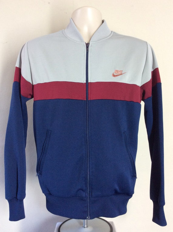 2c90a19269a7 Vtg 80s Nike Blue Tag Track Jacket M Gray Maroon Tracksuit