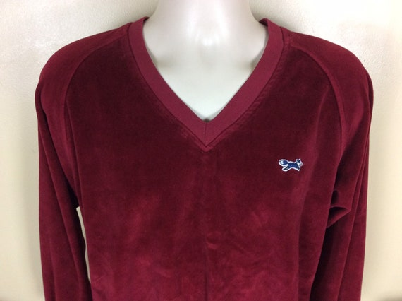 Vtg 70s 80s JC Penney Fox Velour Raglan V-Neck Swe