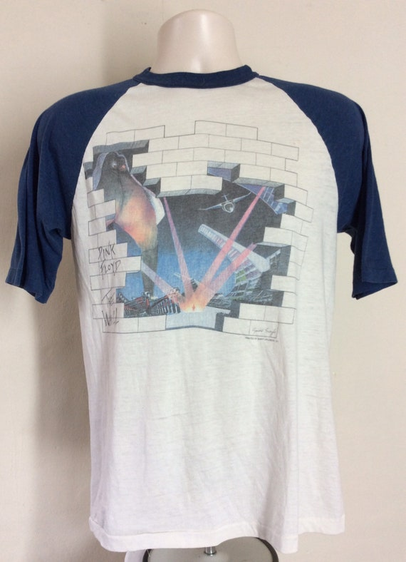 Vtg 1980 Pink Floyd The Wall Concert T Shirt White SM 80s Raglan Classic Psych Rock Band Roger Waters David Gilmour