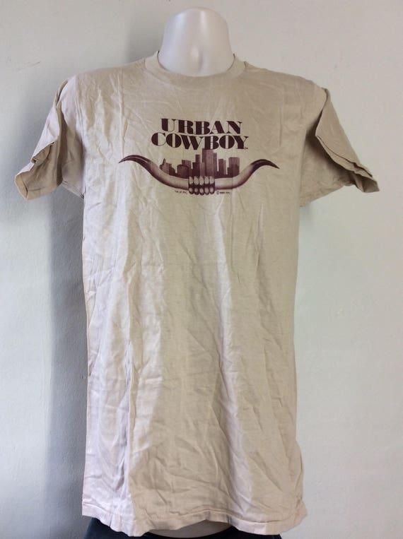 Vtg 1980 Urban Cowboy T-Shirt Beige 80s John Travo