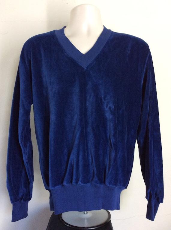 Vtg 70s 80s Papagus Velour V-Neck Sweater L Sweats