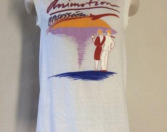 Vtg 80s Animotion Obsession Sleeveless T-Shirt White S/M Screen Stars New Wave Band