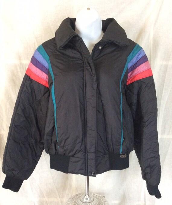 Vtg 80s White Stag Women's Ski Jacket Black M Coat