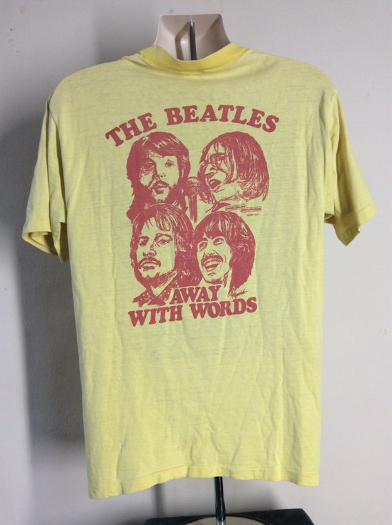 Vtg 70s The Beatles Away With Words T-Shirt Yellow