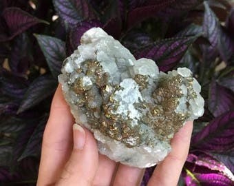 Beautiful Pyrite and Calcite Specimen from Xianghualing Mine, Hunan Province, China, Healing, Metaphysical, Pagan Wiccan, Gems
