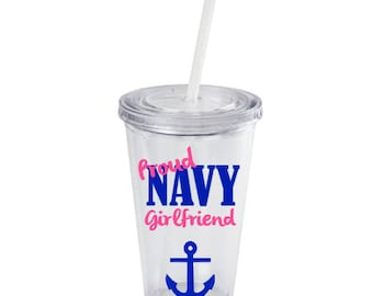 Personalized Proud Navy Girlfriend Tumbler, Proud Navy Wife, Navy Wife, Navy Girlfriend Deployment Gift, Deployment tumbler, Military Spouse