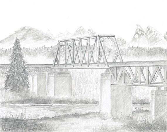 Drawing Snohomish Train Trestle Etsy