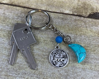 Blue howlite Aries keychain, Aries gift, zodiac keychain, astrology keychain, horoscope keychain, crystal keychain, essential oil diffuser