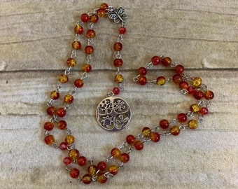 Red and yellow wiccan wheel of the year rosary, wiccan prayer beads, pagan prayer beads, witch rosary, witch prayer beads