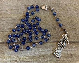 Iridescent blue santa muerte rosary, santisima muerte, nuestra senora de la santa muerte, sacred death rosary, holy death rosary