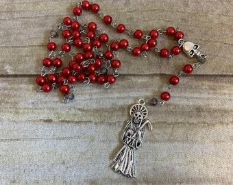 Red and dark grey santa muerte rosary, santisima muerte rosary, nuestra senora de la santa muerte, holy death rosary, sacred death rosary