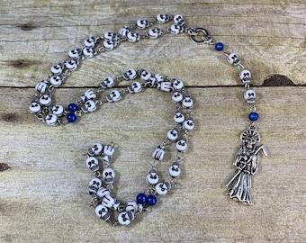 Blue acrylic skull Santa muerte rosary, nuestra senora de la Santa Muerte, holy death rosary, sacred death rosary, santisima muerte rosary
