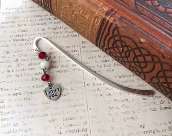 Red and white i love you bookmark, romance bookmark, heart bookmark, Valentine's Day gift, anniversary gift, wedding gift