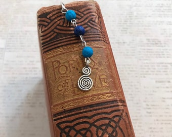 Two toned blue lava rock celtic spiral bookmark, celtic paganism, occult bookmark, wiccan bookmark, pagan bookmark, stone bookmark
