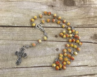 Yellow red and orange catholic rosary, glass rosary, handmade rosary, baptism gift, confimation gift, first communion, religious jewelry