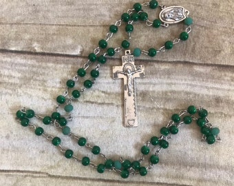 Deep green glass catholic rosary, italian silver rosary, handmade rosary, one of a kind rosary, baptism gift, communion gift