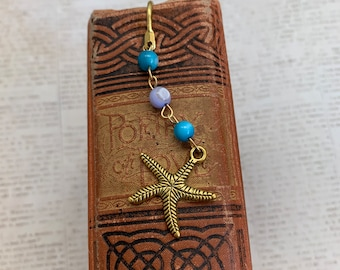 Blue and purple shell starfish bookmark, starfish gift, ocean bookmark, aquatic bookmark, reef bookmark, nature bookmark