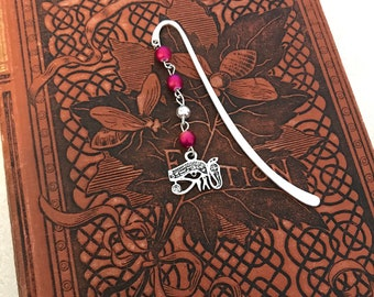 Eye of ra bookmark, eye of horus bookmark, ancient egyptian bookmark, pagan bookmark, occult bookmark, metal bookmark, beaded bookmark