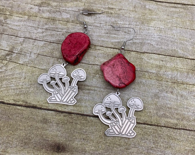 Featured listing image: Dyed pink howlite mushroom crystal earrings, cottage core earrings, stone earrings, fungus earrings, fungi earrings, witchy earrings