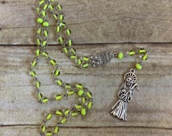 Neon yellow santa muerte rosary, santisima muerte rosary, nuestra senora de la santa muerte, holy death rosary, sacred death rosary