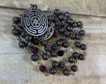 Gunmetal lava rock and garnet wheel of hekate pagan prayer beads, hekate rosary, Hecate rosary, Hecate prayer beads, pagan rosary,