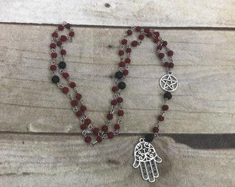 Red lava bead hamsa pagan rosary