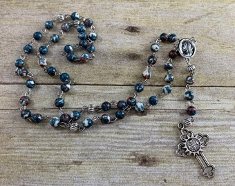 Blue and burgundy mountain jade catholic rosary, stone rosary, beaded rosary, men's rosary, baptism gift, first communion gift, confirmation