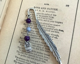 Purple and grey owl feather bookmark, bird bookmark, glass bookmark, metal bookmark