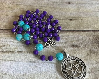Blue and purple celtic pagan rosary, celtic inspired, pentacle jewelry, wiccan necklace, glitter pagan, handmade, one of a kind