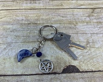 Sodalite pentacle moon keychain, pagan keychain, crystal keychain, wiccan keychain, essential oil diffuser keychain, witch keychain